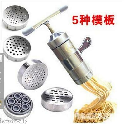 5 Molds Manual Kitchen Pasta Noodle Maker Spaghetti Machine Noddle Press New Hot