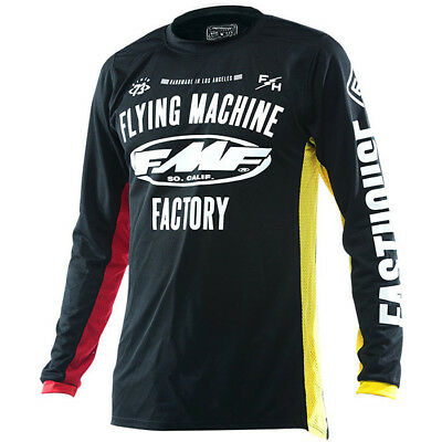 Fasthouse NEW Mx FMF Fly Machine Black Red Yellow Motocross Dirt Bike MTB Jersey