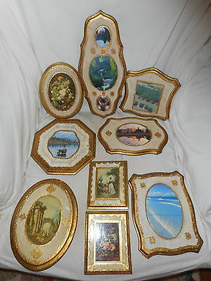 Lot Of 9 Assorted Vintage Wood Gold Gilt Florentine Wall Plaques