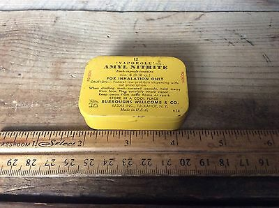Vintage Advertising Tin , Vaporole Amyl Nitrate, Medicinal Advertising, Poison