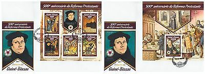 Z08 IMPERF GB17010ab GUINEA BISSAU 2017 500 Years Reformation Luther ETB FDC Set
