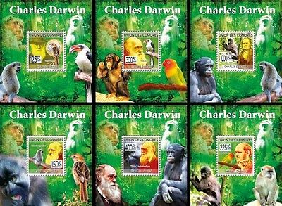Z08 Cmdelux14perf COMORES 2010 Charles Darwin 6 x s/s MNH