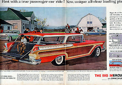 1957 Mercury Car Ad --Colony Park, Voyager, Commuter,- Wagons--2 Page Ad ---v290