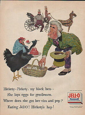 "1955 Jell-O ad desert food ad ""Hickety-Pickety ,My Black Hen-""---166"