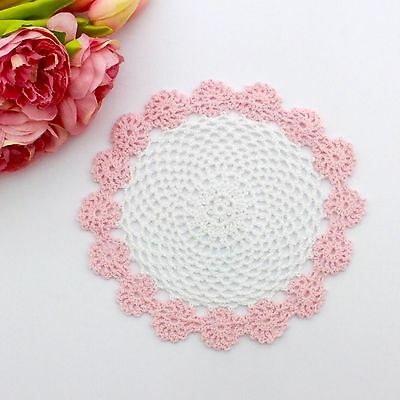 Crochet doily in pink / white 22 cm for millinery , hair and crafts