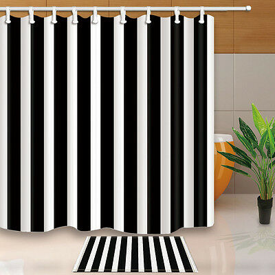 Black and White Stripe Waterproof Polyester Fabric Shower Curtain 72 x 72 Inch