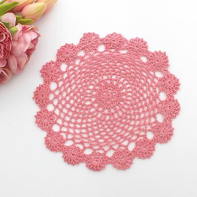 Crochet doily in watermelon pink  22 cm for millinery , hair and crafts