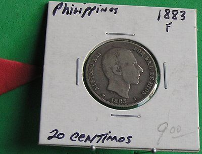 L-too: 1883 PHILIPPINES 20 CENTAVOS ~~ KING ALFONSO XII ~~ SILVER,DURING SPANISH