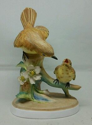 Beautiful Staffordshire Signed HP Porcelain Bird Figurine Flycatchers & Young NM