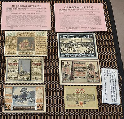 Germany Notgeld Banknote Lot of 6 Notes 1920 1921