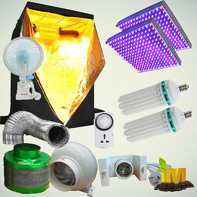 Hydroponics System 130w CFL 6400k 2700k LED Grow Tent Filter Fan Ventilation Kit