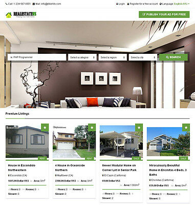 Real Estate Classifieds Website - Responsive + Free install + Hosting