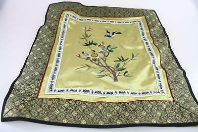 VINTAGE CHINESE SILK EMBROIDERY with STITCH NEEDLEWORK of  FLOWERS AND BIRD