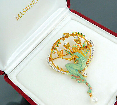 Authentic MASRIERA K18 750 Yellow Gold Diamond Emerald Pearl Pendant Top Brooch