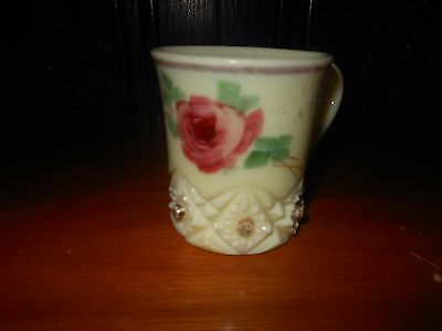 Antique Custard Glass Cup With Painted Rose