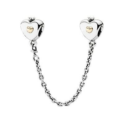 100% Authentic PANDORA 'Heart & Crown' Two-Tone Safety Chain 791878