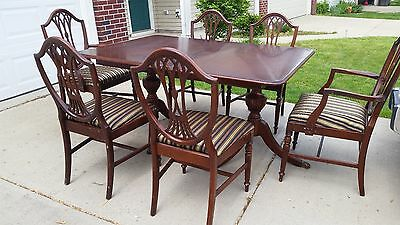 Vintage 1940's Duncan Phyfe dining table and Shield back chairs