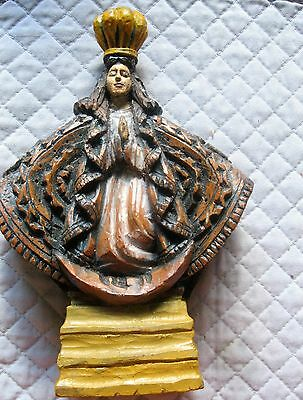 Intricatly Hand Carved Wood Figure Of Our Lady Of Zapopan Great Detail