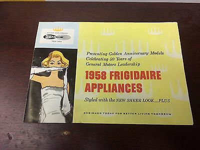 1958 FRIGIDAIRE Appliances Booklet GOLDEN ANNIVERSARY 1908-1958 color brochure