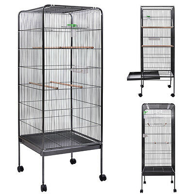 "58"" Flattop Parrot Finch Cage Play Top Pet Supplies w/Perch Stand Two Doors"