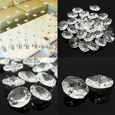 50PCS 14mm Clear Crystal Pendant Prisms Glass Octagonal Beads Part Decoration