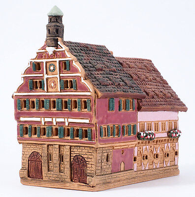 "Handmade Midene ceramic incense burner ""Town hall in Esslingen, Germany"" (R298)"