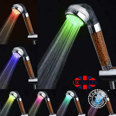 7 LED High Pressure Shower Head Spa Hose Bathroom Powerful Energy Water Saving