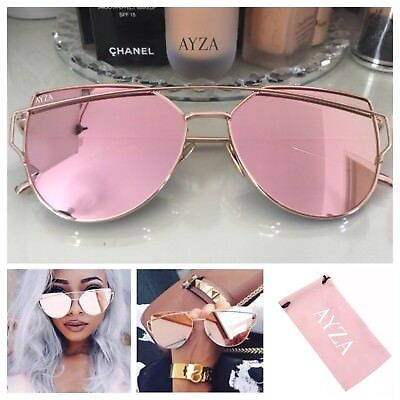 AYZA So Hot Real Cateye Sonnenbrille Damen Rosegold Verspiegelt Brillentasche
