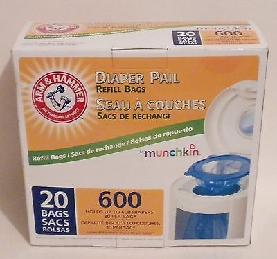 Arm & Hammer Munchkin Diaper Pail Refill Bags 20 ct up to 600 diapers New