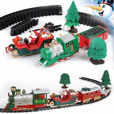 Musical Christmas Train Carriages Tree Headlight Tracks Birthday Gift Kids Toy