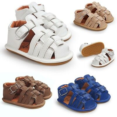 Toddler Kid Baby Boy Girl Sandals Soft Sole PU Leather Casual Summer Weave Shoes