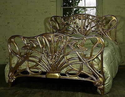 "Mahogany 4' 6"" Double Size Cheri Art Nouveau Gilt Gold Bed New Louis"