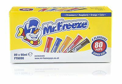 Mr Freeze Ice Pops lollies 80 x 90ml 4 Flavours Long dated Ice Poles