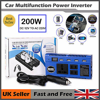 200W Car Smart Power Inverter DC 12V to AC 220V USB Outlets Camping Equipment