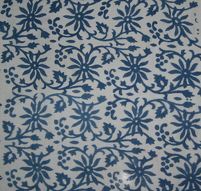 Cotton Voile Hand Block Blue Flower Print Fabric Natural Dyes Sanganer Indian