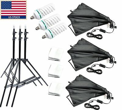US 450W 3x Godox 60*60cm Studio Photo Folding Softbox Bulb Kit + Light Stand