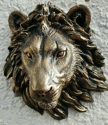 LION HEAD WALL PLAQUE STONE GARDEN ORNAMENT bronze various color available