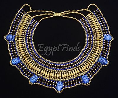 Beautiful Ancient Egyptian Hand Made Blue Beaded 7 Scarabs Cleopatra Necklace