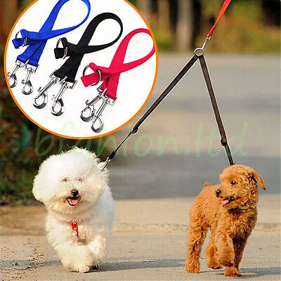 Duplex Double Dog Coupler Twin Lead 2 Way Two Pet Dogs Walking Leash Safety New