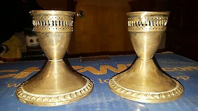 Vtg Pair Mayflower Sterling Silver Weighted Candlesticks Candle Holders