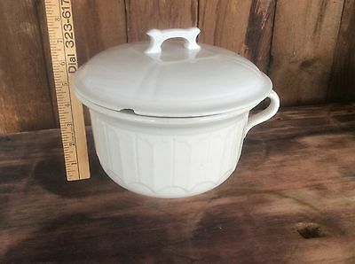 Chamber Pot With Lid , White Pottery Piece, Stamped On Bottom,