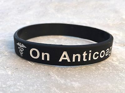 On Anticoagulant Medical Alert Wristband ID Band Black Silicone Men Womens Adult