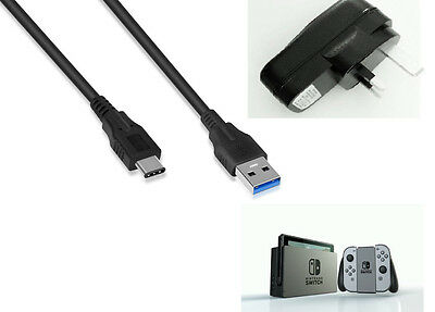 Mains Wall Desk Charger With Type C Data Cable For Nintendo Switch Console
