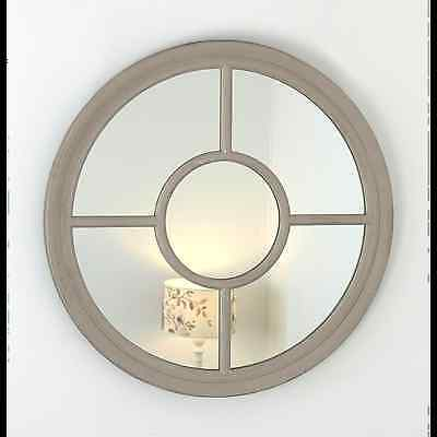 "Rennes Taupe Shabby Chic Round Window Wall Mirror 36"" x 36"" V Large"