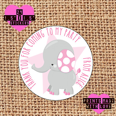 Personalised 24 elephant party bag stickers sweet cone labels blue 1st beh