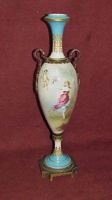 Antique Sevres  French Porcelain Bronze Mounted Urn Artist Signed