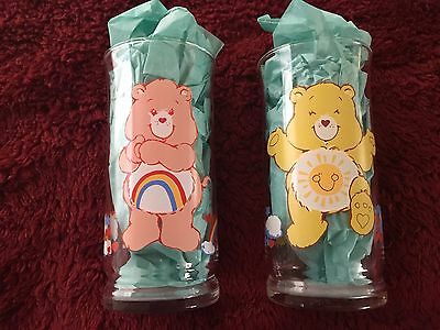 Vintage 1983 Pizza Care Bears Lot Funshine & Cheer Glasses Collectible