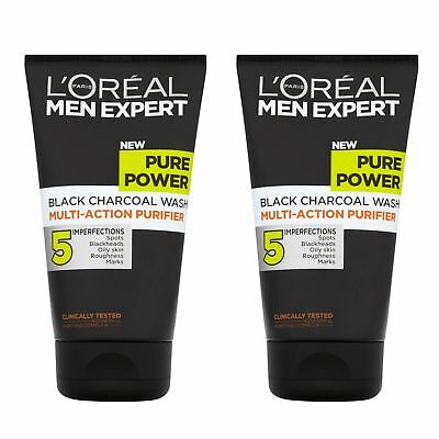 2 x L'Oreal Men Expert Pure Power Charcoal Face Wash 150ml Enriched With Menthol