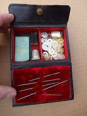 1800's Antique Leather Covered Sewing Box With Needles,Buttons,Thimble,and More