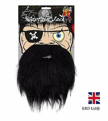 PIRATE BEARD KIT Mens Boys Kids Fancy Dress Eye Patch Fake Hair Accessory Pack